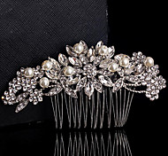 Floral Design Wedding Bride Crystal Pearls Flower Combs Hair Accessior