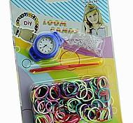 Children Silicone Rubber Bands Woven Circular Loom Watch DIY Quartz Bracelet Watch (Random Color)