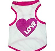 Cotton White Vest Printed with Big Heart for Pets Dogs (Assorted Sizes)