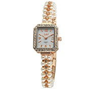 Women's Bracelet Watch Quartz Analog Pearls Chain Sparkling Diamonds Rectangle Dial