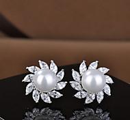 Women Fashion Jewelry Pearl  Earrings 10KT White Gold Filled Zircon Hoop Earring High Quality