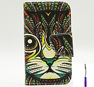 Persian Cat Pattern PU Leather Case Cover with A Touch Pen ,Stand and Card Holder for iPhone 4/4S