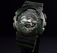 Men's Fashion Analog Digital Watch Rubber Strap Sports Watch Waterproof Camouflage Watch