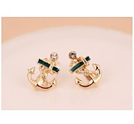 Pirate Ship Anchor Drill Gemstone Stud Earrings