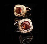 Toonykelly Fashion Men's Gold Copper Orange Crystal Cufflink(1 Pair)