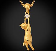 u7® simpatico gatto ciondolo oro 18k reale placcato la collana monili strass austriaco per le donne o gli uomini