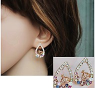 Colorful Diamond Gole Crown Drop Earrings