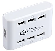 BTY M561 Universal 6-Port USB AC Power Adapter Charger - White (US Plug / 100~240V)