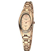 Women's Bracelet Watch Quartz Analog Sparkle Full Steel Retro Relojes Mujer Fashion Oval Dial Rose Gold