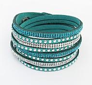 Women's Fashion Rhinestone Pave Layers Weaved Leather Long Wrist Chain Bracelets