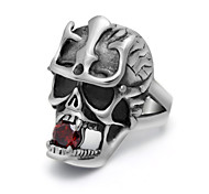 Never Fade Stainless Steel Red CZ Crystal Skull Rings for Men Punk Biker Ring Game Film Fashion Jewelry Accessories