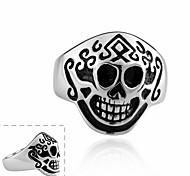 Maya Fashion Individual Monkey Face Skull Stainless Steel Man Ring(Black)(1Pcs)
