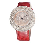 Women's Bracelet Watch Quartz Analog Sparkle Genuine Leather Japanese Quratz Full Diamonds