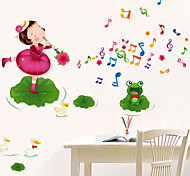 Environmental Removable Little Girl And Music Notes Pattern PVC Stickers & Tapes