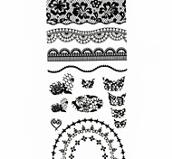 1PC 3D Black Nail Art Stickers Lace Nail Wraps Nail Decals Moon Heart Nail Polish Decorations