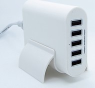 50W 5 Port USB Charger Travel Adapter Intelligent Detect & Fast Charging 5V 10A 2A Port at The Same Time