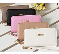 Solid Color PU Leather Wrist Strap Mobile Phone Bag for iPhone iPhone 4G/4S/5S/5C/6 (Assorted Colors)