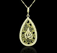 18K Real Gold Plated Allah Muslim Hollow Out Drop Pendant Necklace