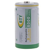 BTY 8000mAh 1.2V D-type Rechargeable NiMH Battery (1pcs)