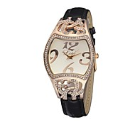Women's Bracelet Watch Quartz Analog Flower PU Leather Strap Personality Dial Gift