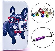 Glasses dog Pattern PU Leather Case with Stylus and Dust Plug for Samsung Galaxy Trend Lite S7390/S7392