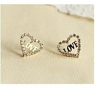 Gold Plated Letter Love Diamond Lovely Heart Earrings