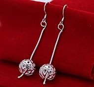 Snake Chain Hollow Ball 925 Silver Drop Earrings(2Pc)