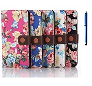 5.1 Inch Flower Pattern Wallet Leather Case with Pen for Samsung GALAXY S6