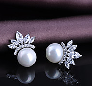 Women Pearl  Stud  Earrings 10KT White Gold Filled Zircon Fashion Jewelry Earring High Quality