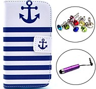 Striped Anchor Pattern PU Leather Case with Stylus and Dust Plug for Samsung Galaxy Trend Lite S7390/S7392