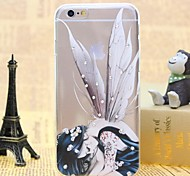 Girl With Butterfly Wings Pattern TPU Relief Thin Transparent Diamond Paste Back Cover Case for iPhone 6/6S