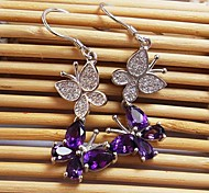 925 silver plated 18K Gold Amethyst Earrings