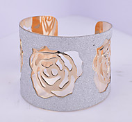 D Exceed Women's Bracelet Fashion Gold Plated Wide Bracelet Mix Color Hollow Out Rose Flower Design Causal Cuff Bangles