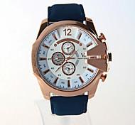 V6 Men's Fashion Three Eyes Design Round Dial Blue Color PU Leather Strap Quartz Movement Wrist Watches(Assorted Colors)