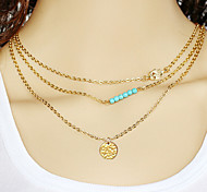 multilayer Fatima hand Sequin Turquoise Alloy Pendant Necklace (1 set)