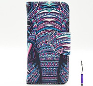 The African Elephant Pattern PU Leather Case Cover with A Touch Pen ,Stand and Card Holder for iPhone 5C