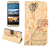 World Map Style Leather Wallet Case with Stand Flip Cover and Credit Card ID Holders for HTC One M9 (Assorted Color)