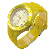 Women's Girl's Quartz Analog Fashion Watch Round Silicone Band Day Display Function Multi-Colour