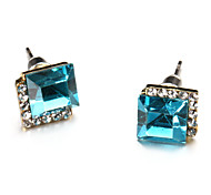 Fashion Cubic Glass Multicolor Alloy Stud Earrings(1 Pair)(More Color)
