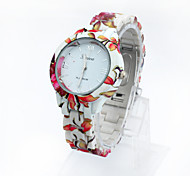 Lureme® Fashion Leisure Printing Color Country Style Plastic Strap  Girls and Women Quartz Wrist Watch