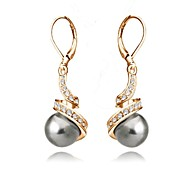 Top Quality Imitation Pearl Earrings 18K Rose Gold Plated Fashion Jewelry Made with Austrian Crystal