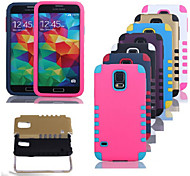 The New Plastic and Silicone Material Mixing At 10 Robot Design for Samsung S5 I9600(Assorted Colors)