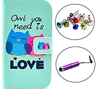 Love Owl Pattern PU Leather Case with Stylus and Dust Plug for Samsung Galaxy Trend Lite S7390/S7392