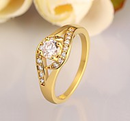 Classics Diamante Women Golden Zircon Statement Rings(Golden)(1Pcs)