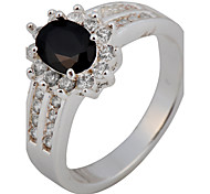 6 Color Size 6/7/8/9/10 High Quality Women Black Rings 10KT White Gold Filled Ring