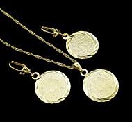 18k banhado a ouro verdadeiro grande allah moeda muçulmanos pingente de colar + brincos conjunto de jóias