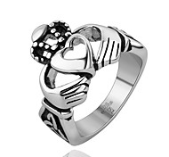 Stainless Steel Punk Style Wedding Bands Heart & Hand Man Ring Death Metal Jewelry Biker Ring