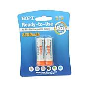 BPI aa 1.2v 2200mah batteria ricaricabile Ni-MH (2ps)