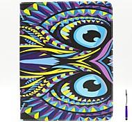 teste padrão bonito da coruja pu tampa da caixa de couro com um stand de caneta de toque e suporte de cartão para ipad 2/3/4