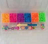 1400 pcs diy do arco-íris banda estilo tear tecido pulseiras de borracha (1400pcs banda, um teares, 2 gancho + 1box)
